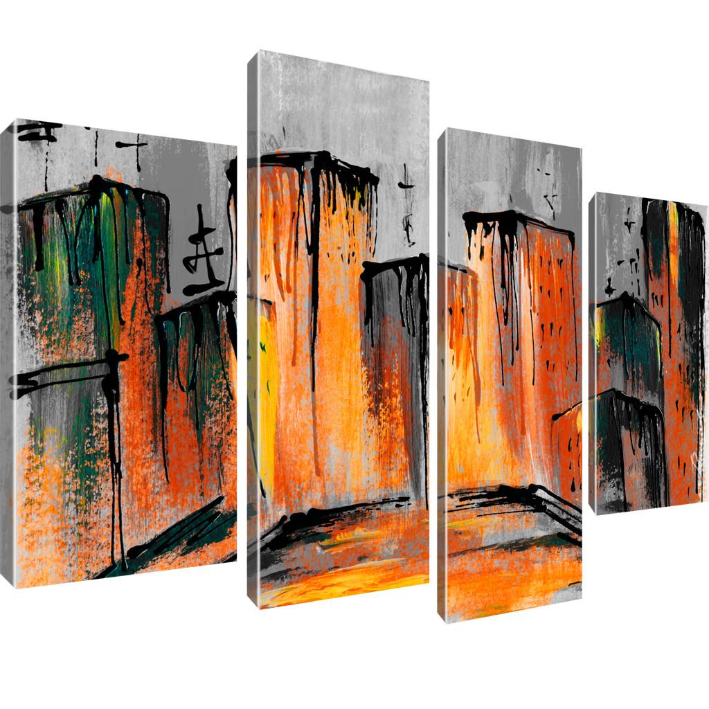 abstrakte stadt bilder wandbild leinwand ebay. Black Bedroom Furniture Sets. Home Design Ideas