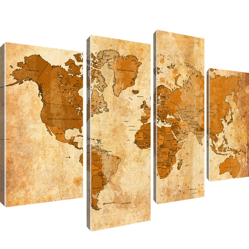 bilder weltkarte kunstdruck auf leinwand wandbild bild worldmap viele varianten ebay. Black Bedroom Furniture Sets. Home Design Ideas