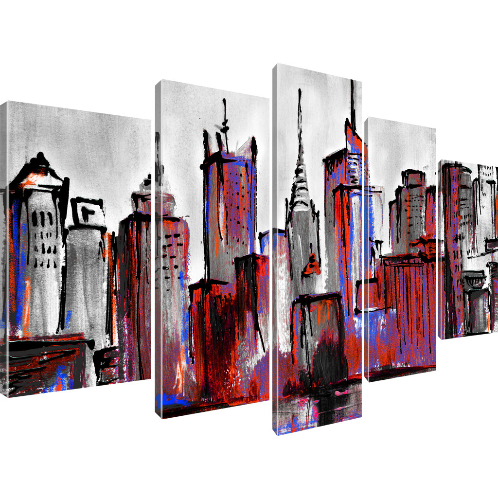 manhattan skyline new york stadt bilder keilrahmenbild leinwand ebay. Black Bedroom Furniture Sets. Home Design Ideas